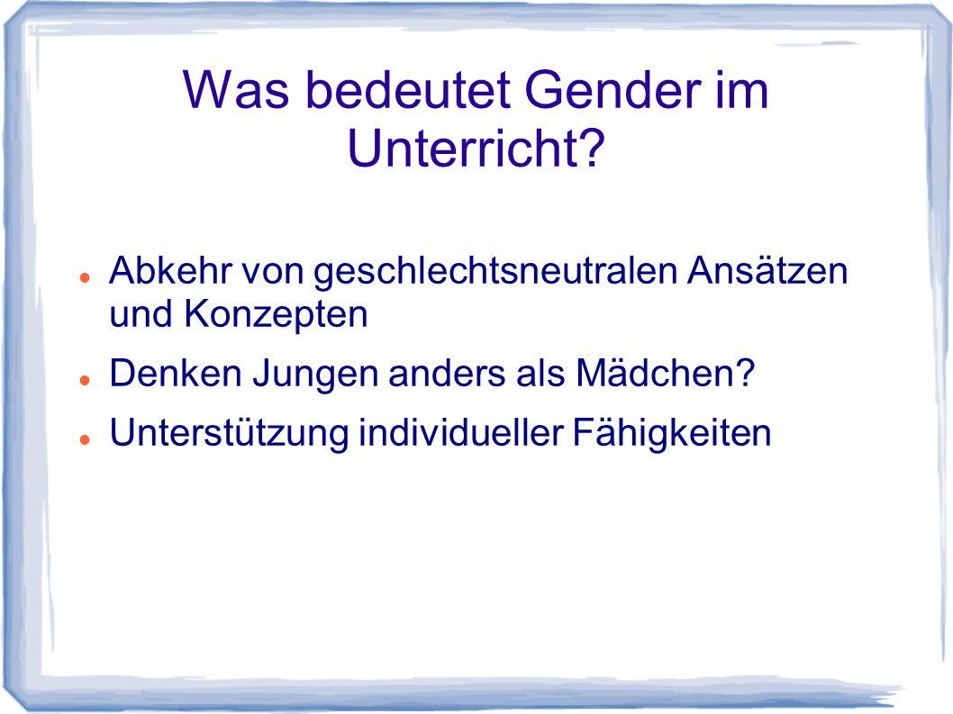 Was bedeutet Gender im Unterricht.