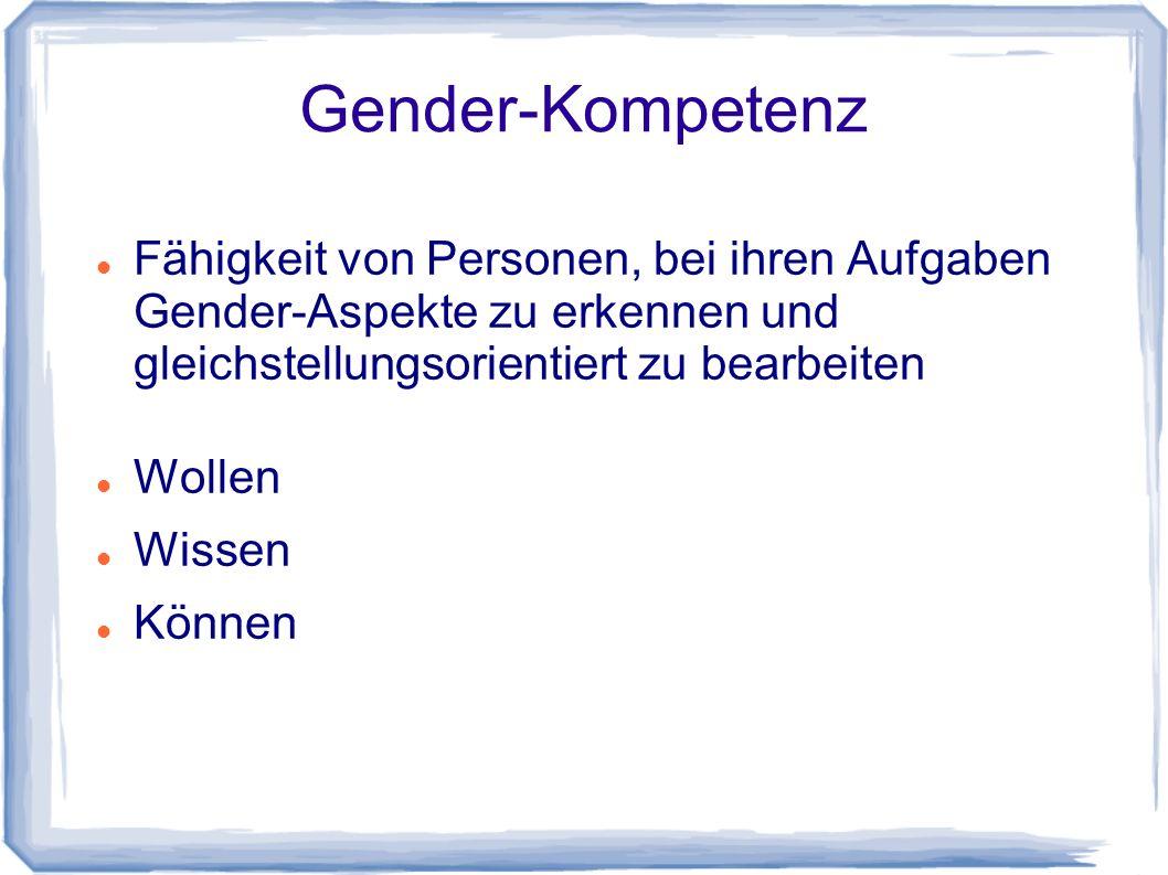 Gender-Kompetenz Fähigkeit von Personen, bei ihren Aufgaben Gender-Aspekte zu erkennen und gleichstellungsorientiert zu bearbeiten Wollen Wissen Können