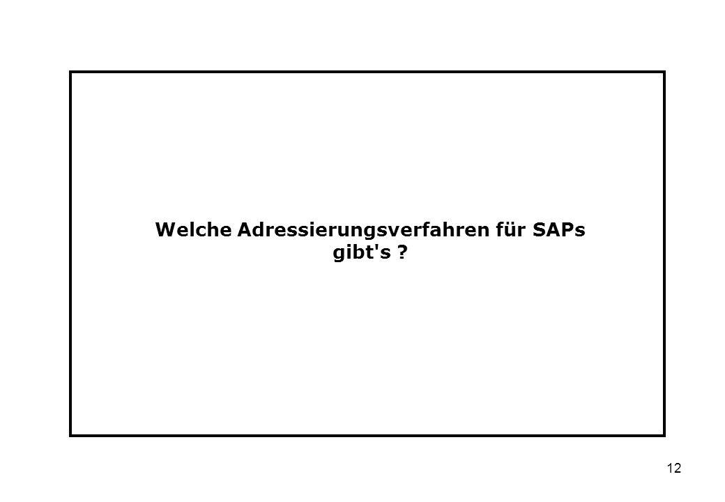 12 Welche Adressierungsverfahren für SAPs gibt's ?
