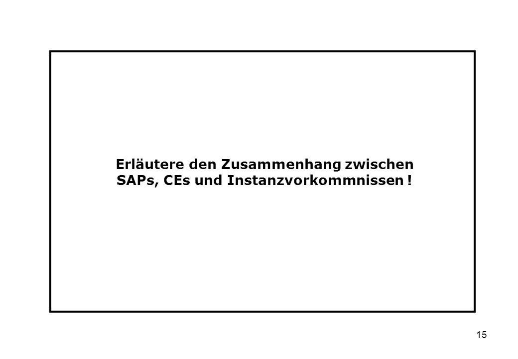 15 Erläutere den Zusammenhang zwischen SAPs, CEs und Instanzvorkommnissen !