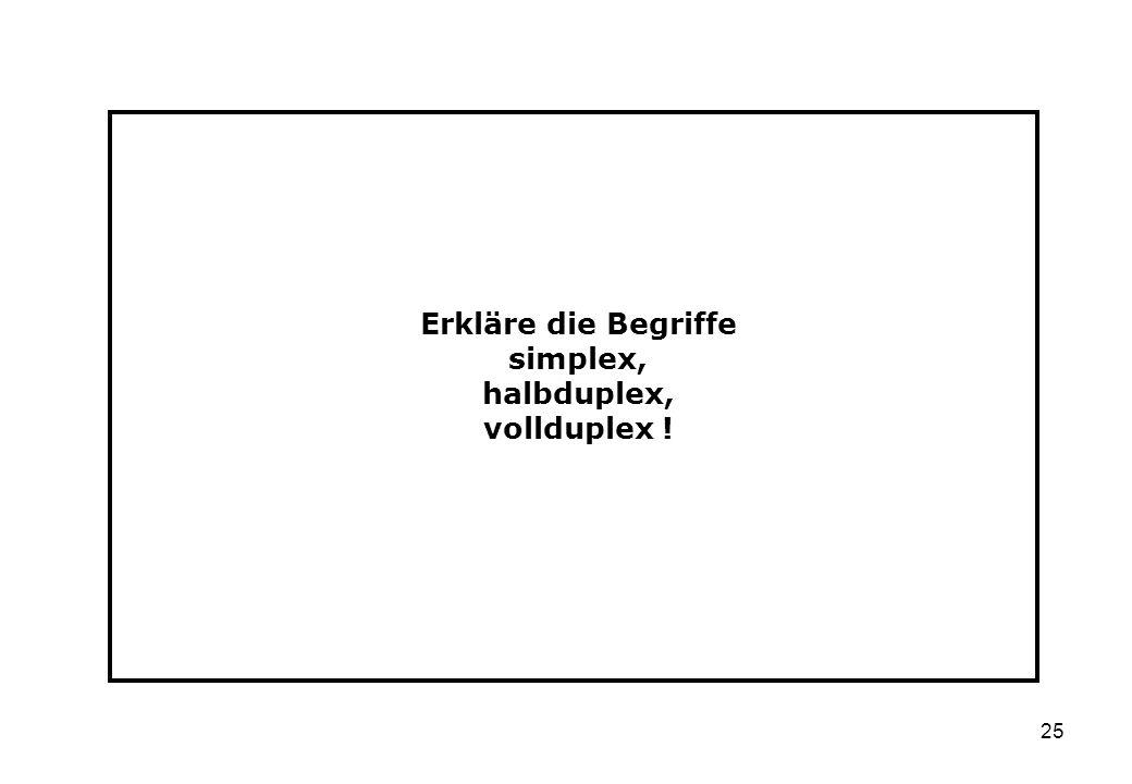25 Erkläre die Begriffe simplex, halbduplex, vollduplex !