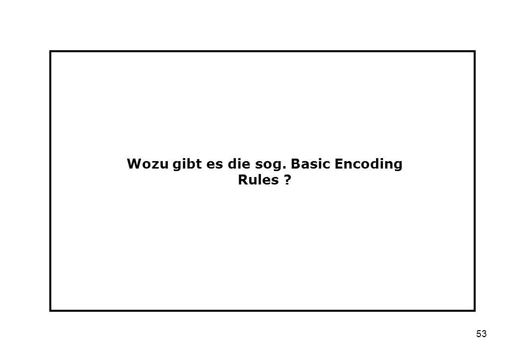 53 Wozu gibt es die sog. Basic Encoding Rules ?