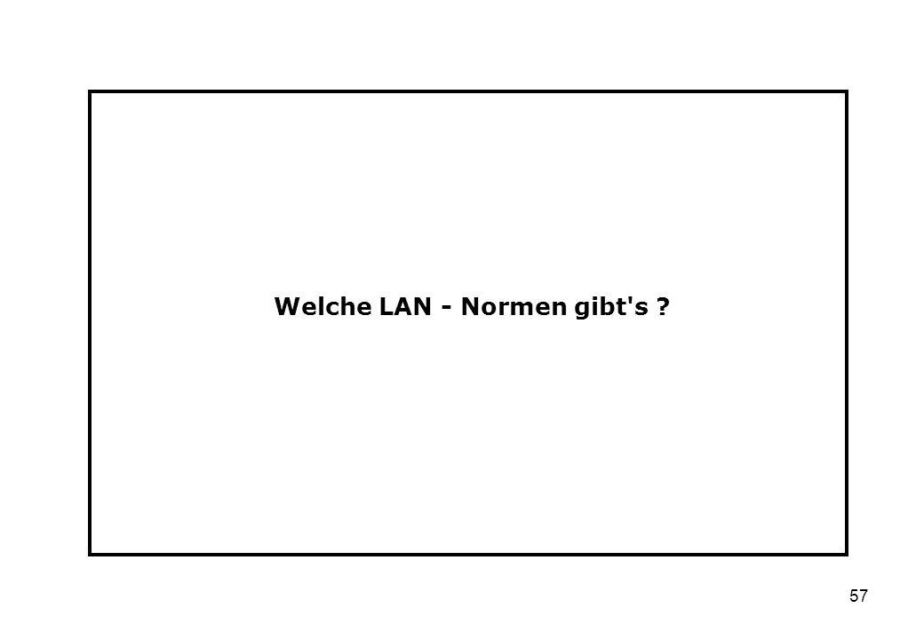 57 Welche LAN - Normen gibt's ?