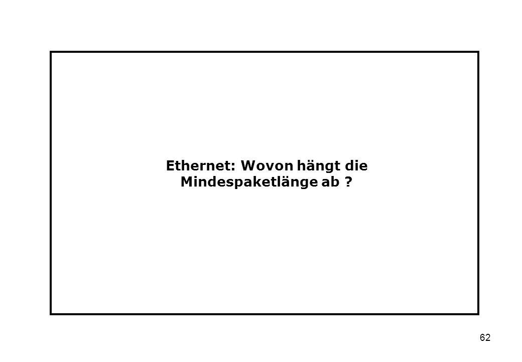 62 Ethernet: Wovon hängt die Mindespaketlänge ab ?