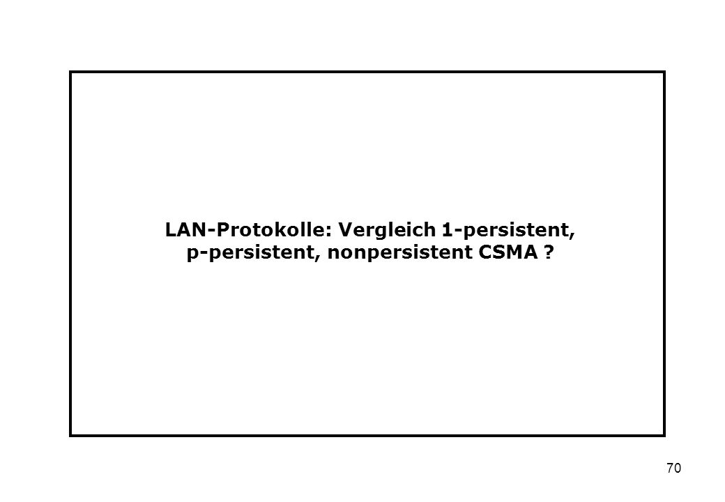 70 LAN-Protokolle: Vergleich 1-persistent, p-persistent, nonpersistent CSMA ?