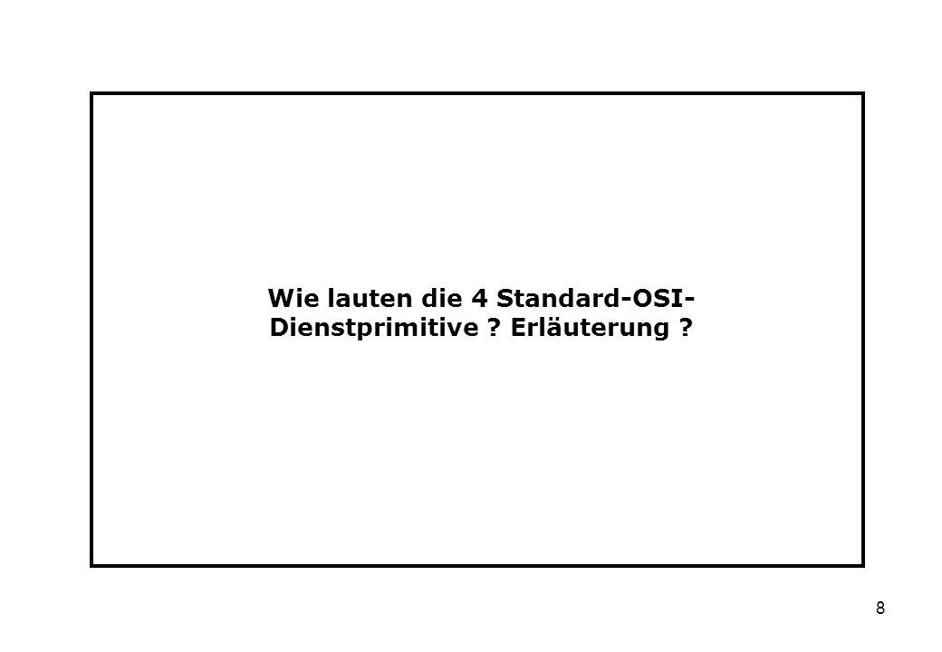 8 Wie lauten die 4 Standard-OSI- Dienstprimitive ? Erläuterung ?