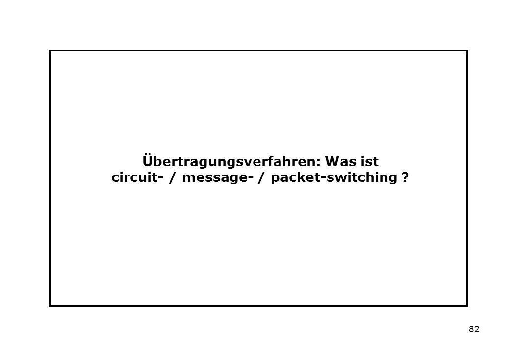 82 Übertragungsverfahren: Was ist circuit- / message- / packet-switching ?