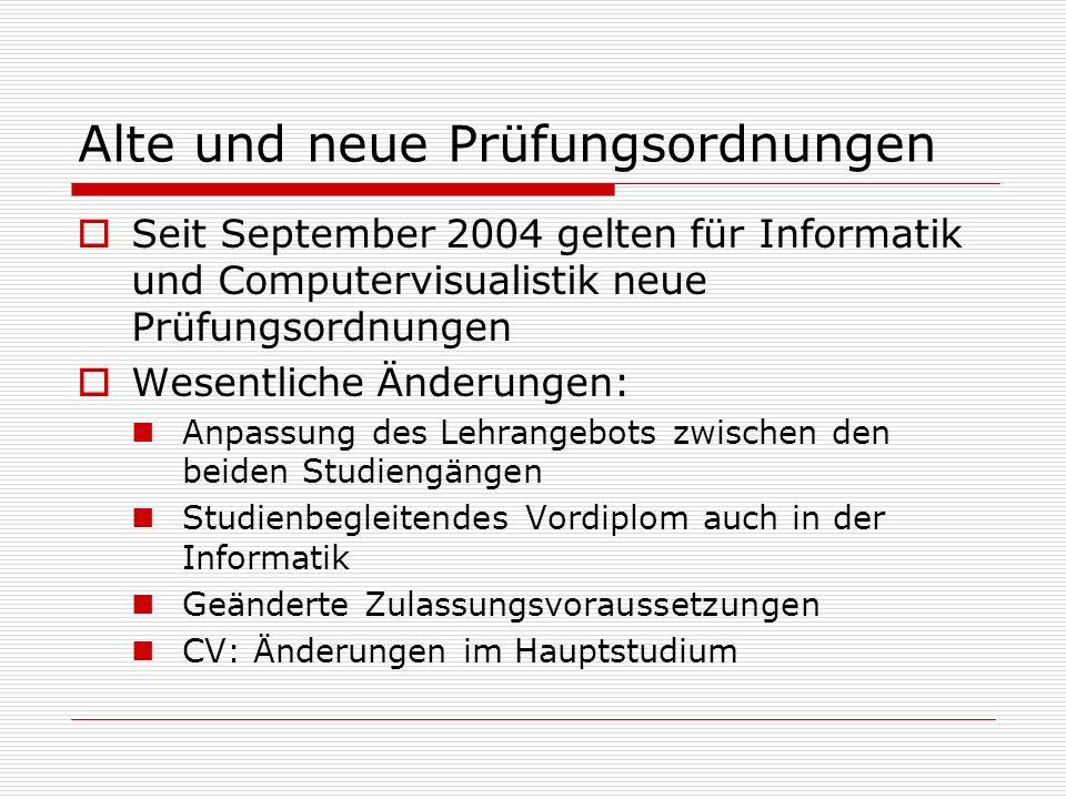 Alte und neue Prüfungsordnungen Seit September 2004 gelten für Informatik und Computervisualistik neue Prüfungsordnungen Wesentliche Änderungen: Anpas