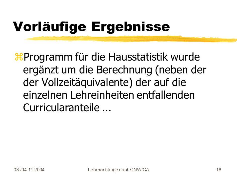03./04.11.2004Lehrnachfrage nach CNW/CA18 Vorläufige Ergebnisse zProgramm für die Hausstatistik wurde ergänzt um die Berechnung (neben der der Vollzeitäquivalente) der auf die einzelnen Lehreinheiten entfallenden Curricularanteile...