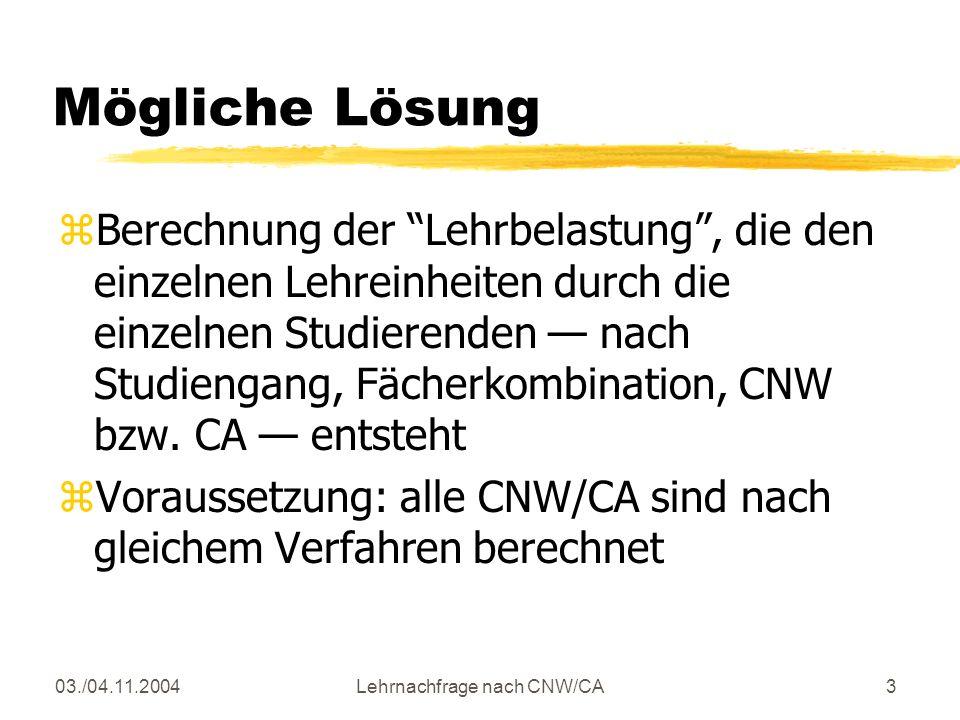 03./04.11.2004Lehrnachfrage nach CNW/CA3 Mögliche Lösung zBerechnung der Lehrbelastung, die den einzelnen Lehreinheiten durch die einzelnen Studierenden nach Studiengang, Fächerkombination, CNW bzw.