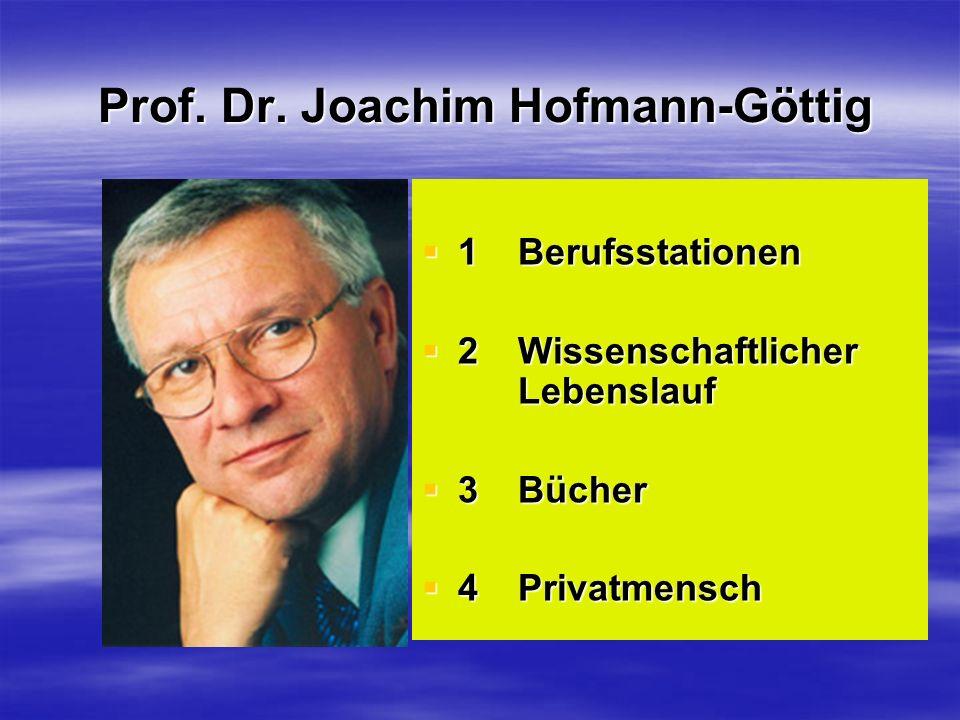 Prof. Dr. Joachim Hofmann-Göttig 1 Berufsstationen 1 Berufsstationen 2 Wissenschaftlicher Lebenslauf 2 Wissenschaftlicher Lebenslauf 3 Bücher 3 Bücher