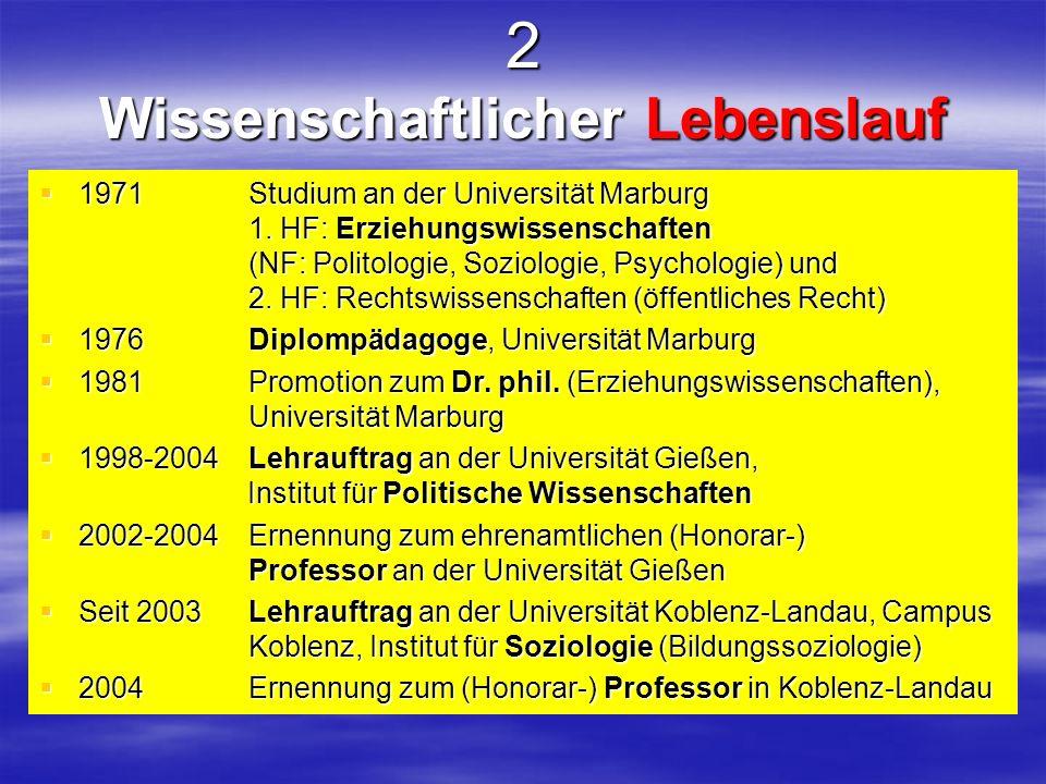 2 Wissenschaftlicher Lebenslauf 1971 Studium an der Universität Marburg 1. HF: Erziehungswissenschaften (NF: Politologie, Soziologie, Psychologie) und