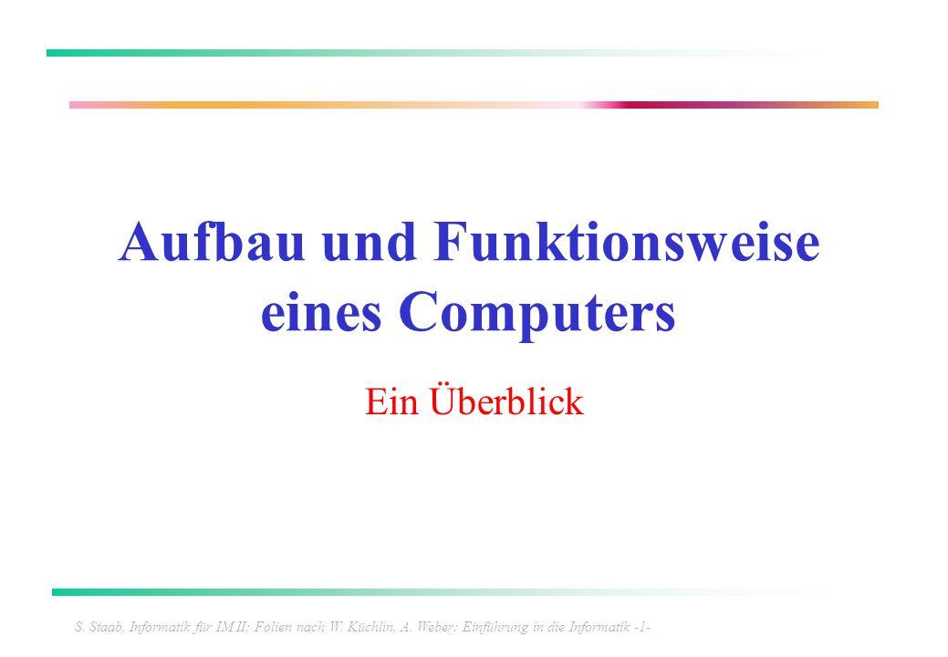 S. Staab, Informatik für IM II; Folien nach W. Küchlin, A. Weber: Einführung in die Informatik -1- Aufbau und Funktionsweise eines Computers Ein Überb