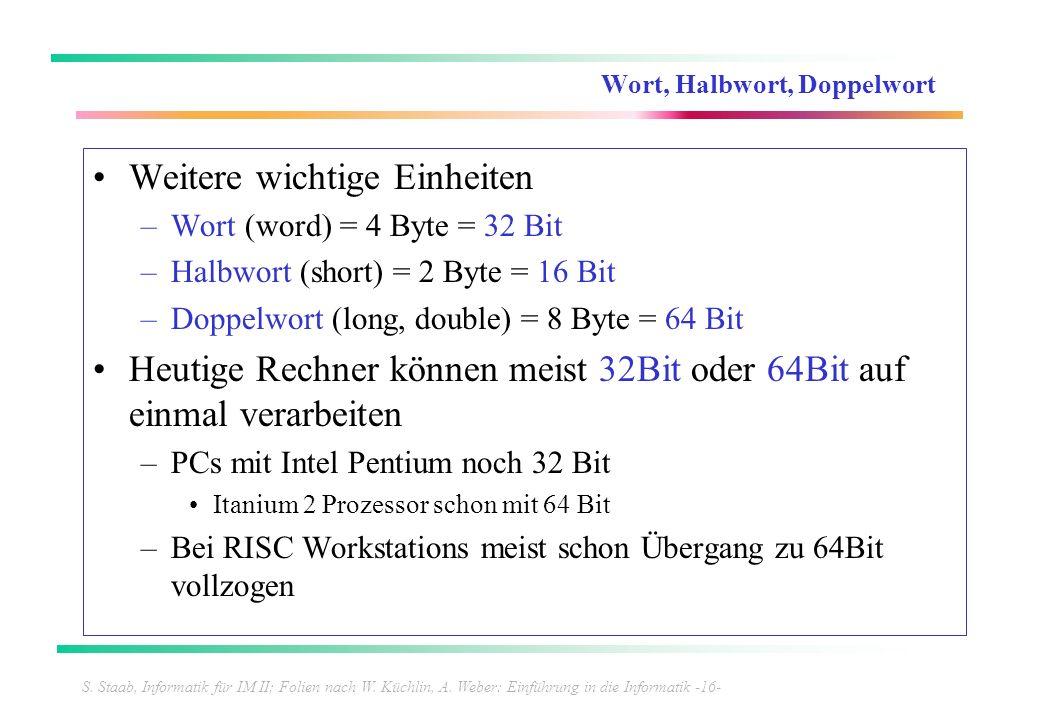 S. Staab, Informatik für IM II; Folien nach W. Küchlin, A. Weber: Einführung in die Informatik -16- Wort, Halbwort, Doppelwort Weitere wichtige Einhei