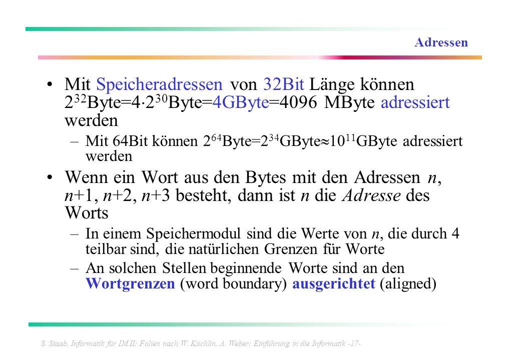 S. Staab, Informatik für IM II; Folien nach W. Küchlin, A. Weber: Einführung in die Informatik -17- Adressen Mit Speicheradressen von 32Bit Länge könn