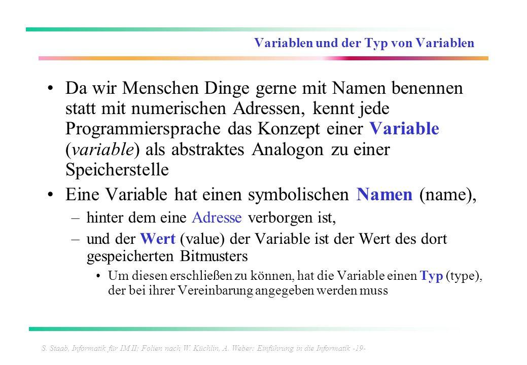 S. Staab, Informatik für IM II; Folien nach W. Küchlin, A. Weber: Einführung in die Informatik -19- Variablen und der Typ von Variablen Da wir Mensche