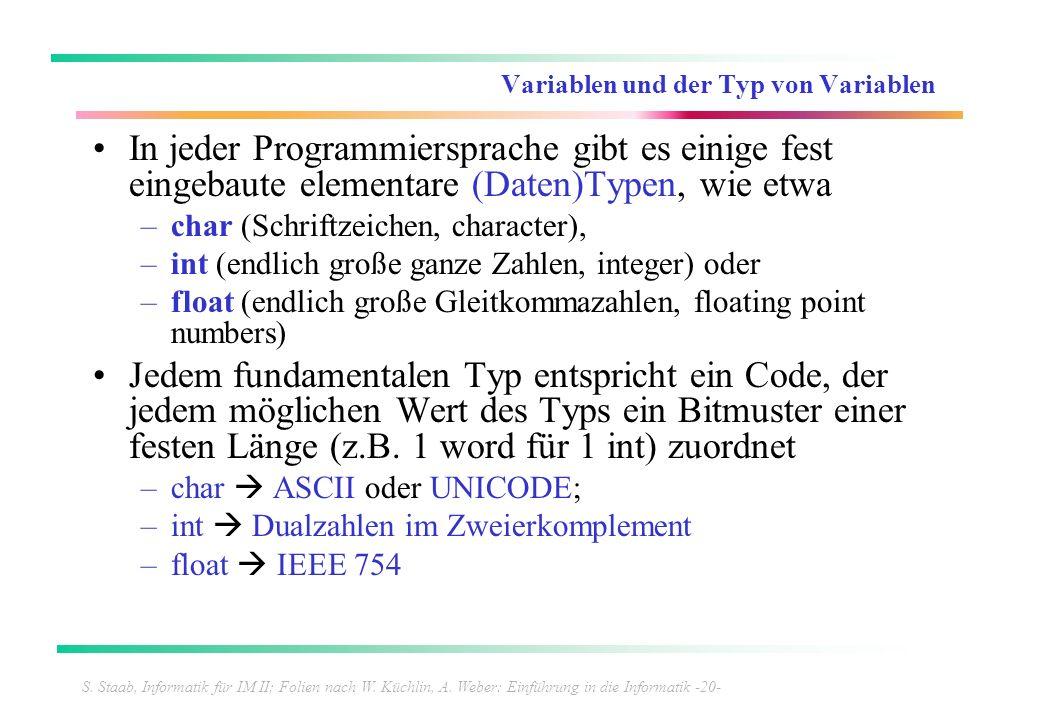 S. Staab, Informatik für IM II; Folien nach W. Küchlin, A. Weber: Einführung in die Informatik -20- Variablen und der Typ von Variablen In jeder Progr