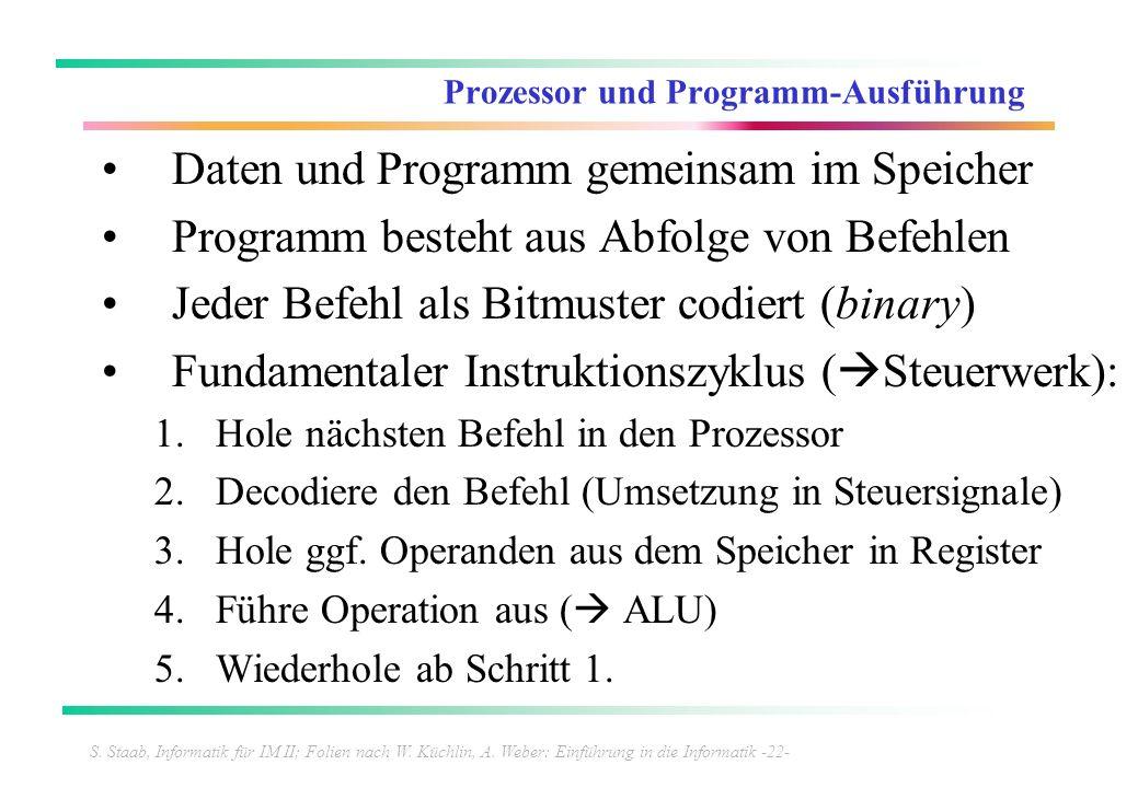 S. Staab, Informatik für IM II; Folien nach W. Küchlin, A. Weber: Einführung in die Informatik -22- Prozessor und Programm-Ausführung Daten und Progra