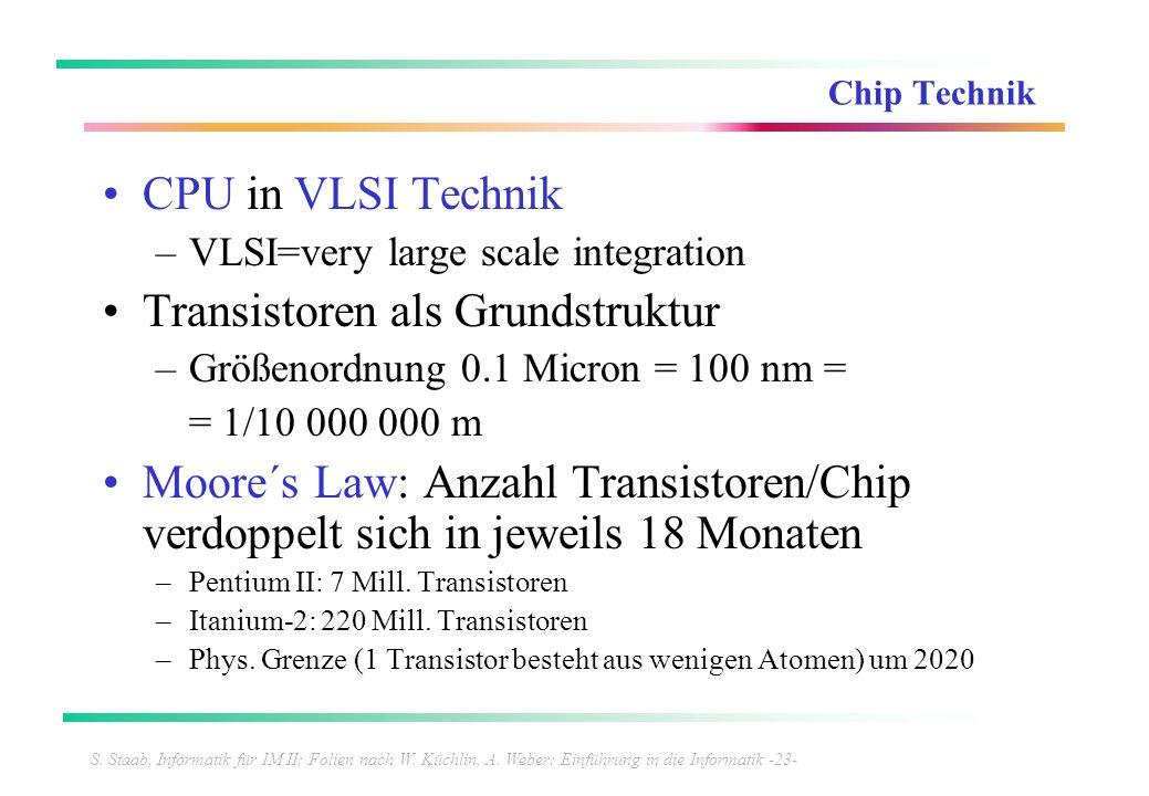 S. Staab, Informatik für IM II; Folien nach W. Küchlin, A. Weber: Einführung in die Informatik -23- Chip Technik CPU in VLSI Technik –VLSI=very large