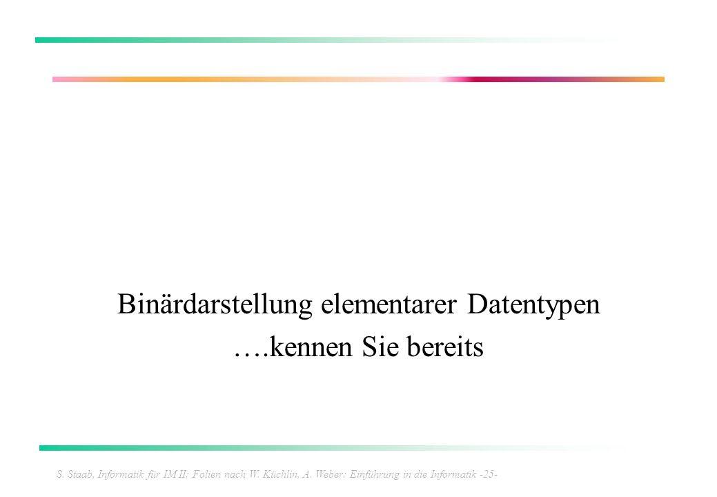 S. Staab, Informatik für IM II; Folien nach W. Küchlin, A. Weber: Einführung in die Informatik -25- Binärdarstellung elementarer Datentypen ….kennen S