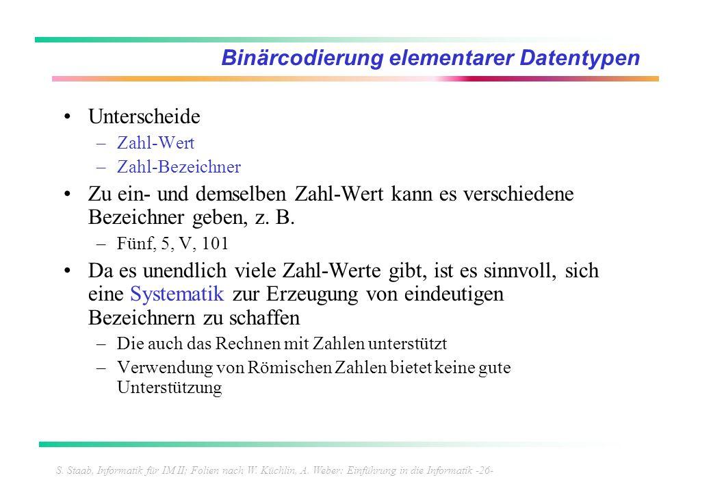 S. Staab, Informatik für IM II; Folien nach W. Küchlin, A. Weber: Einführung in die Informatik -26- Binärcodierung elementarer Datentypen Unterscheide