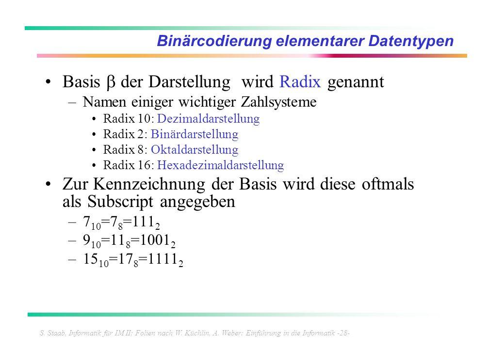 S. Staab, Informatik für IM II; Folien nach W. Küchlin, A. Weber: Einführung in die Informatik -28- Binärcodierung elementarer Datentypen Basis der Da