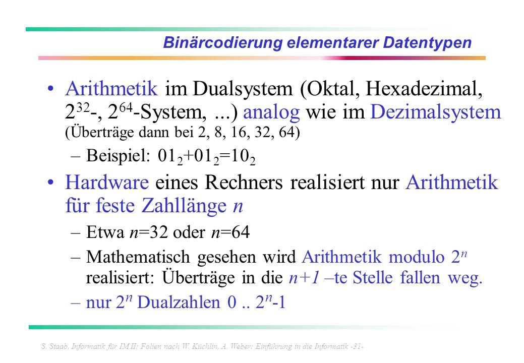 S. Staab, Informatik für IM II; Folien nach W. Küchlin, A. Weber: Einführung in die Informatik -31- Binärcodierung elementarer Datentypen Arithmetik i