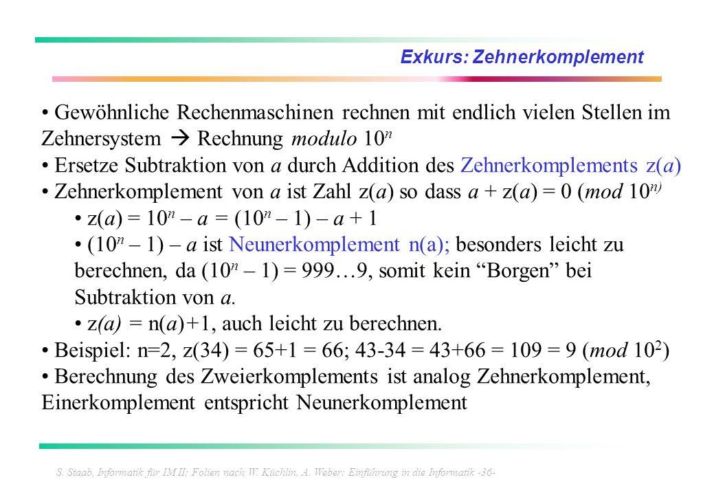 S. Staab, Informatik für IM II; Folien nach W. Küchlin, A. Weber: Einführung in die Informatik -36- Exkurs: Zehnerkomplement Gewöhnliche Rechenmaschin