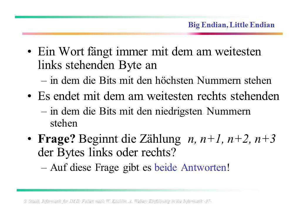 S. Staab, Informatik für IM II; Folien nach W. Küchlin, A. Weber: Einführung in die Informatik -37- Big Endian, Little Endian Ein Wort fängt immer mit