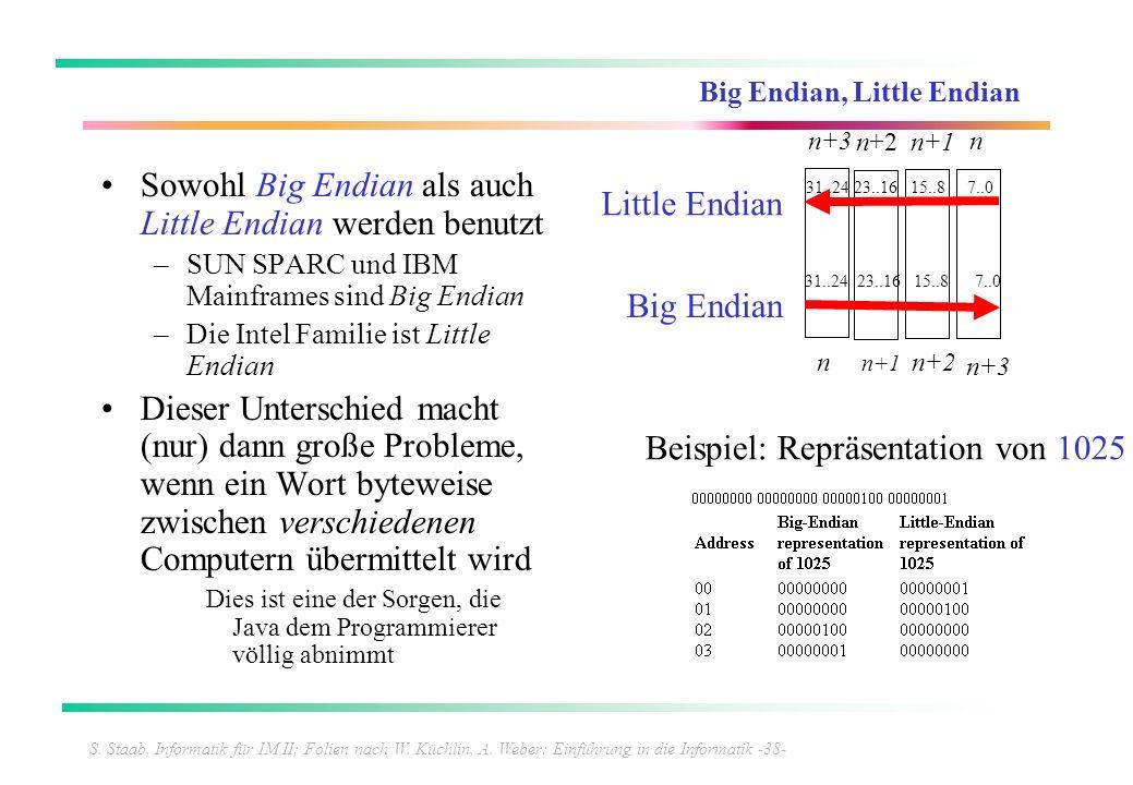 S. Staab, Informatik für IM II; Folien nach W. Küchlin, A. Weber: Einführung in die Informatik -38- Big Endian, Little Endian Sowohl Big Endian als au