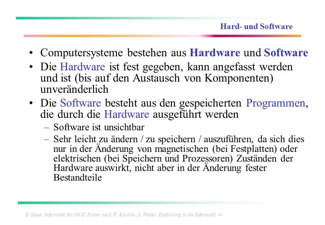 S. Staab, Informatik für IM II; Folien nach W. Küchlin, A. Weber: Einführung in die Informatik -4- Hard- und Software Computersysteme bestehen aus Har