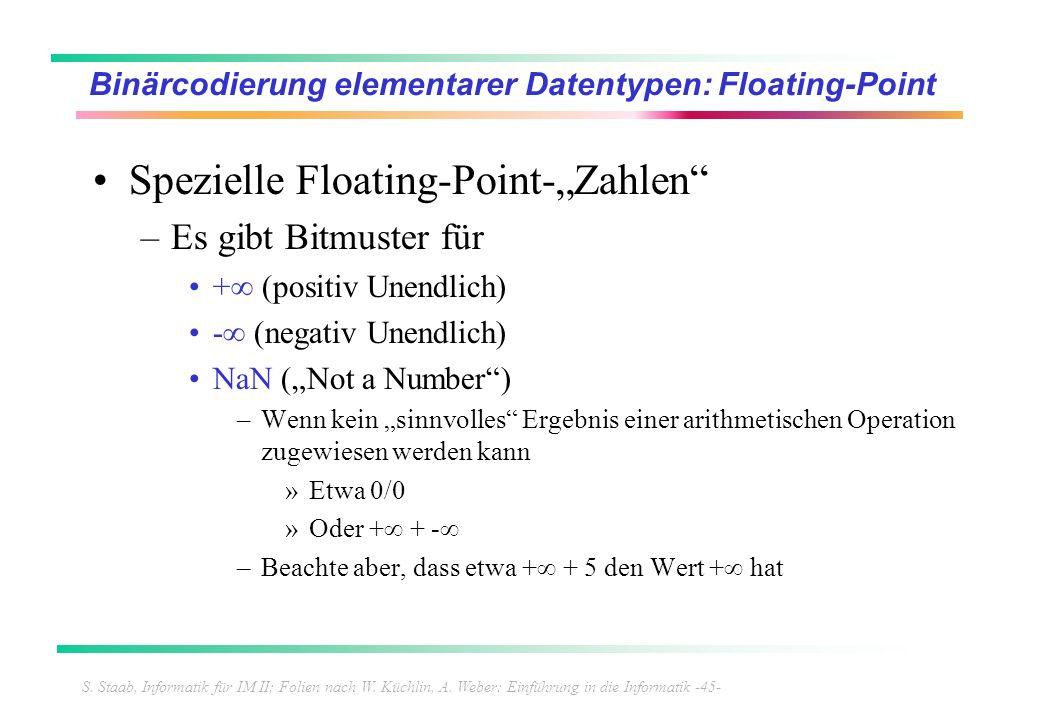 S. Staab, Informatik für IM II; Folien nach W. Küchlin, A. Weber: Einführung in die Informatik -45- Binärcodierung elementarer Datentypen: Floating-Po
