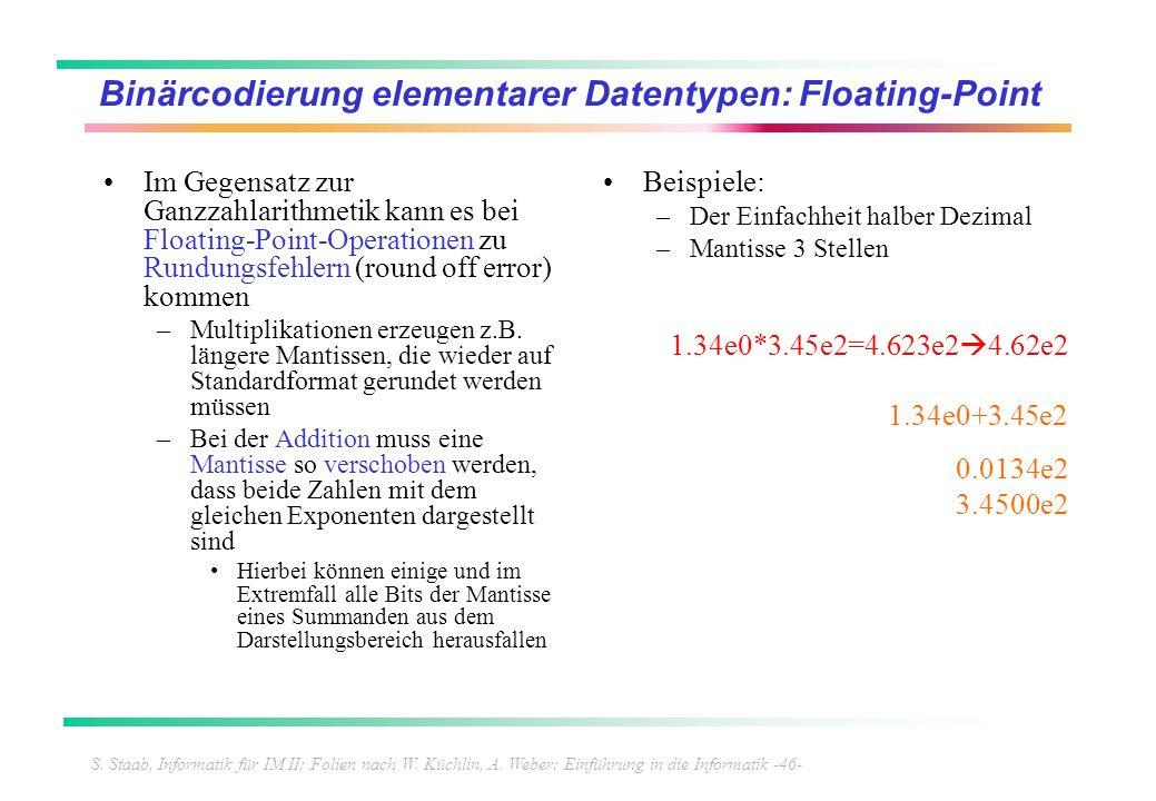 S. Staab, Informatik für IM II; Folien nach W. Küchlin, A. Weber: Einführung in die Informatik -46- Binärcodierung elementarer Datentypen: Floating-Po