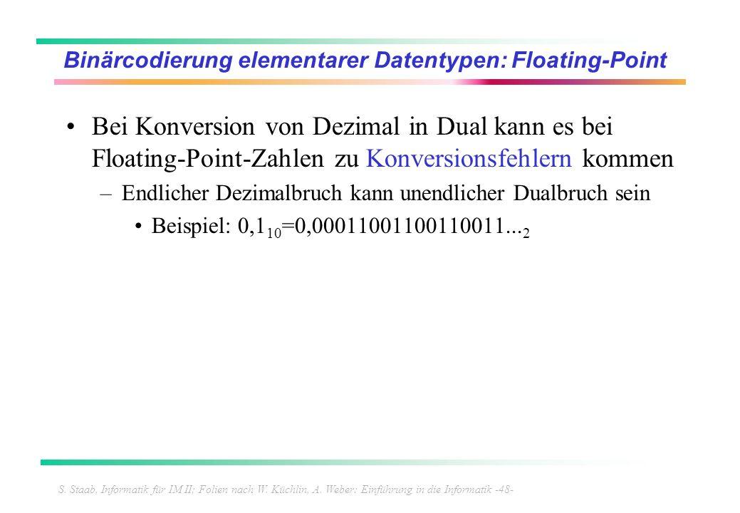 S. Staab, Informatik für IM II; Folien nach W. Küchlin, A. Weber: Einführung in die Informatik -48- Binärcodierung elementarer Datentypen: Floating-Po