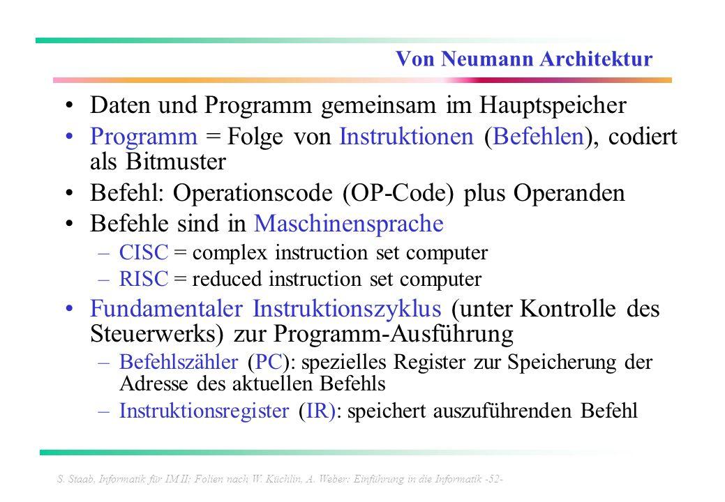 S. Staab, Informatik für IM II; Folien nach W. Küchlin, A. Weber: Einführung in die Informatik -52- Von Neumann Architektur Daten und Programm gemeins
