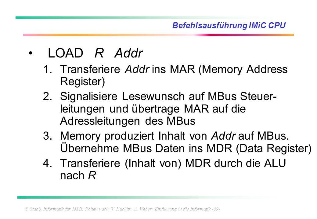 S. Staab, Informatik für IM II; Folien nach W. Küchlin, A. Weber: Einführung in die Informatik -59- Befehlsausführung IMiC CPU LOAD R Addr 1.Transferi
