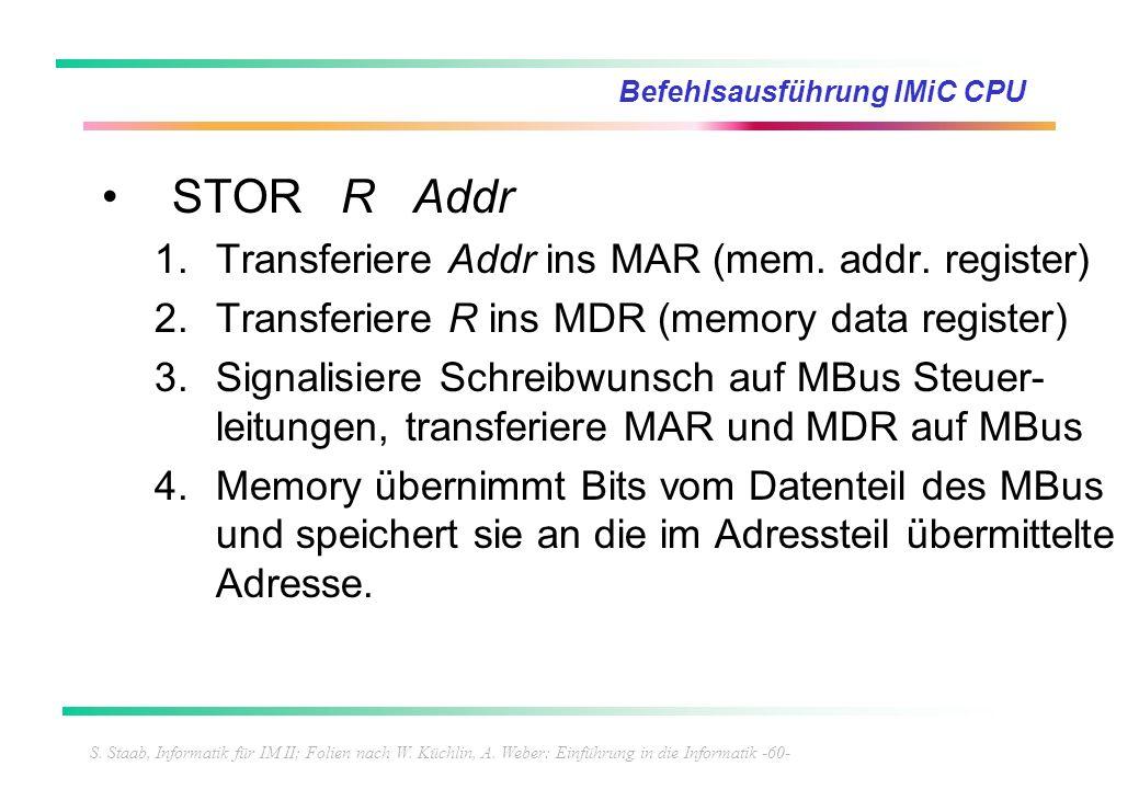 S. Staab, Informatik für IM II; Folien nach W. Küchlin, A. Weber: Einführung in die Informatik -60- Befehlsausführung IMiC CPU STOR R Addr 1.Transferi