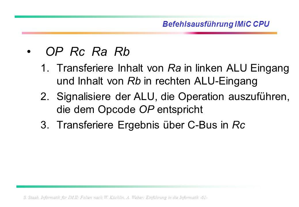 S. Staab, Informatik für IM II; Folien nach W. Küchlin, A. Weber: Einführung in die Informatik -61- Befehlsausführung IMiC CPU OP Rc Ra Rb 1.Transferi
