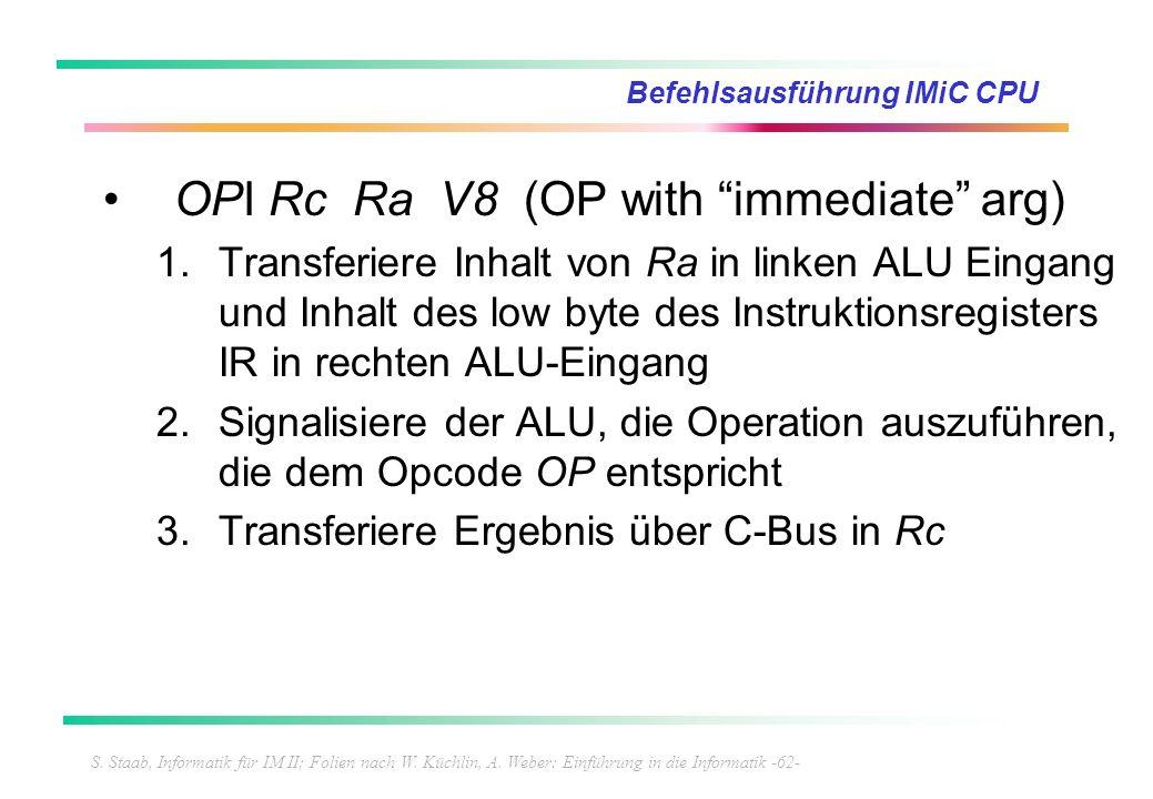 S. Staab, Informatik für IM II; Folien nach W. Küchlin, A. Weber: Einführung in die Informatik -62- Befehlsausführung IMiC CPU OPI Rc Ra V8 (OP with i