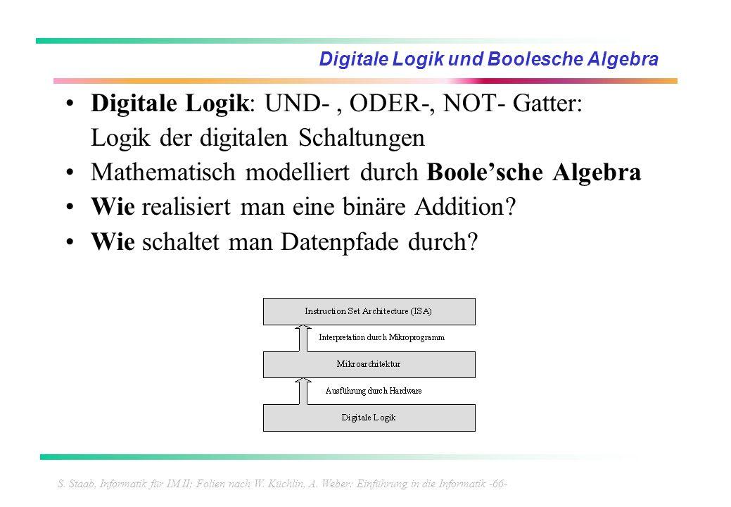S. Staab, Informatik für IM II; Folien nach W. Küchlin, A. Weber: Einführung in die Informatik -66- Digitale Logik und Boolesche Algebra Digitale Logi