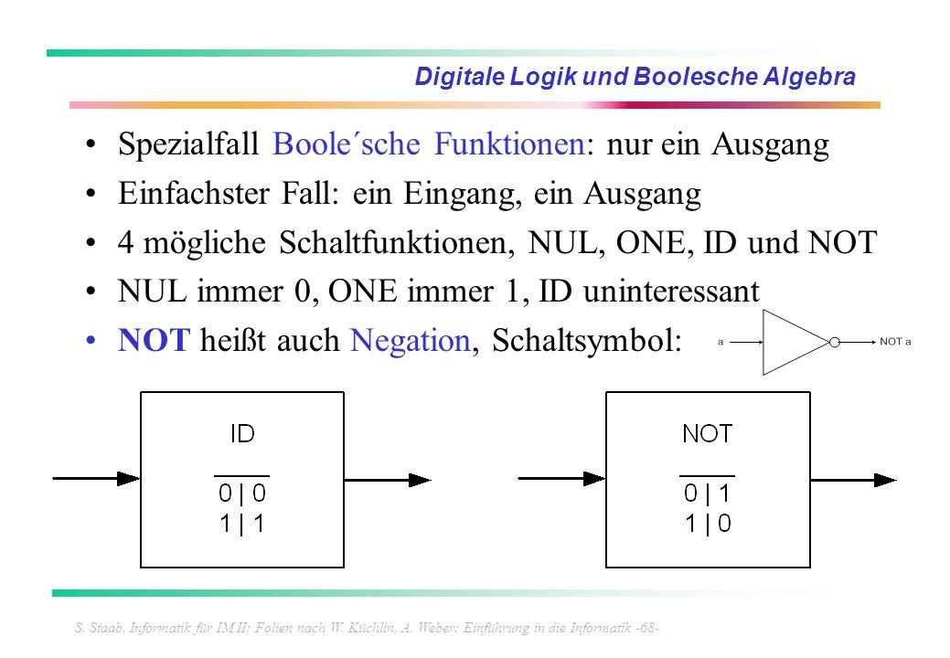 S. Staab, Informatik für IM II; Folien nach W. Küchlin, A. Weber: Einführung in die Informatik -68- Digitale Logik und Boolesche Algebra Spezialfall B