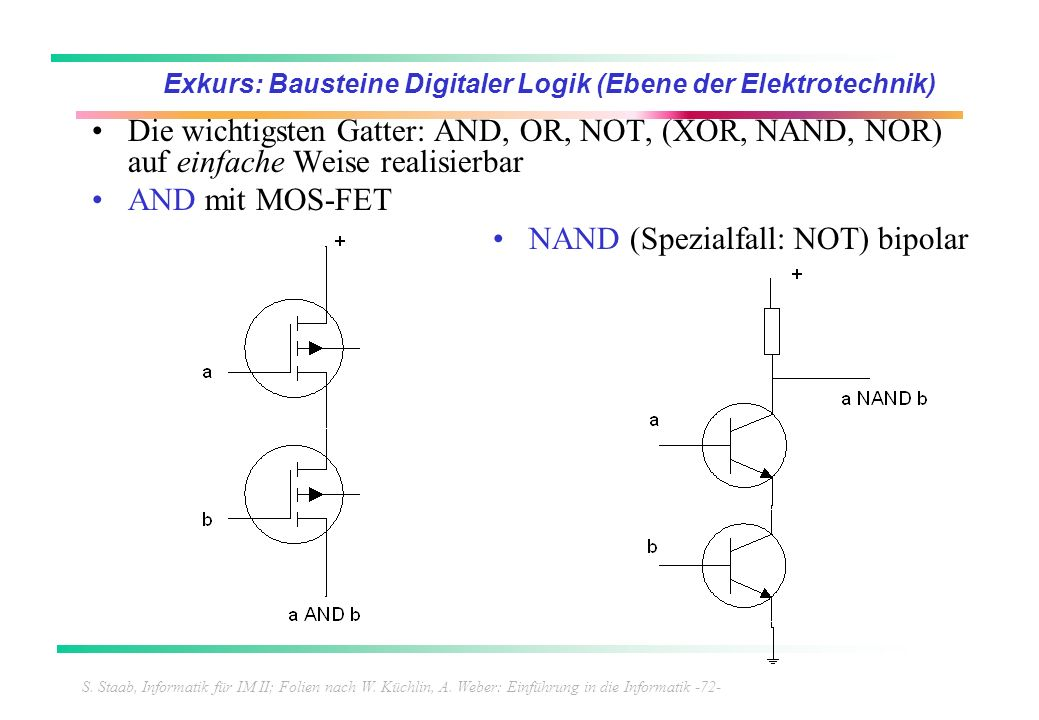 S. Staab, Informatik für IM II; Folien nach W. Küchlin, A. Weber: Einführung in die Informatik -72- Exkurs: Bausteine Digitaler Logik (Ebene der Elekt