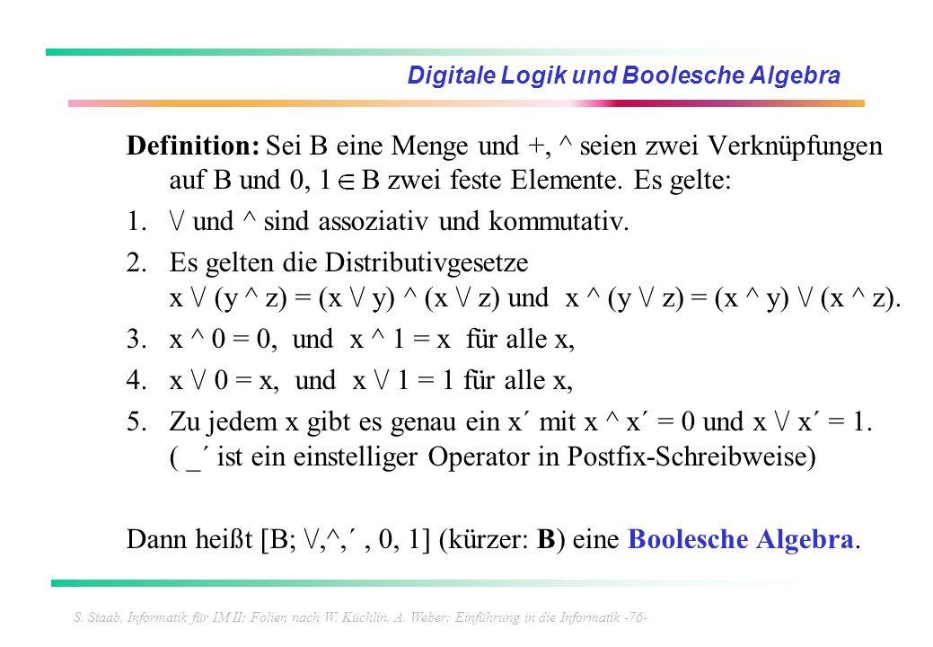 S. Staab, Informatik für IM II; Folien nach W. Küchlin, A. Weber: Einführung in die Informatik -76- Digitale Logik und Boolesche Algebra Definition: S