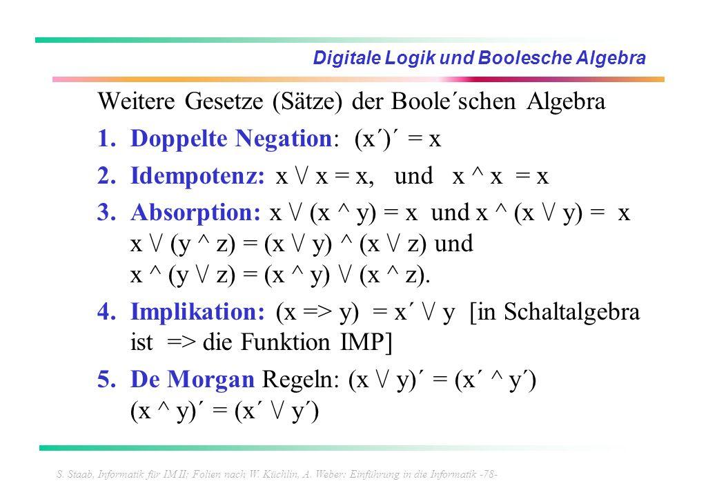 S. Staab, Informatik für IM II; Folien nach W. Küchlin, A. Weber: Einführung in die Informatik -78- Digitale Logik und Boolesche Algebra Weitere Geset