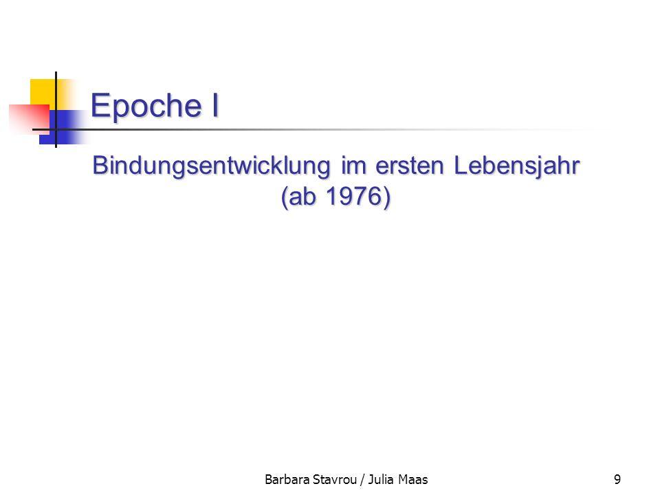 Barbara Stavrou / Julia Maas9 Epoche I Bindungsentwicklung im ersten Lebensjahr (ab 1976)