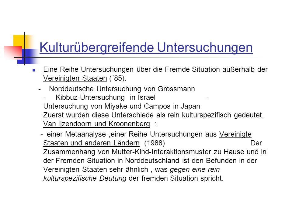 Kulturübergreifende Untersuchungen Eine Reihe Untersuchungen über die Fremde Situation außerhalb der Vereinigten Staaten (´85): - Norddeutsche Untersu