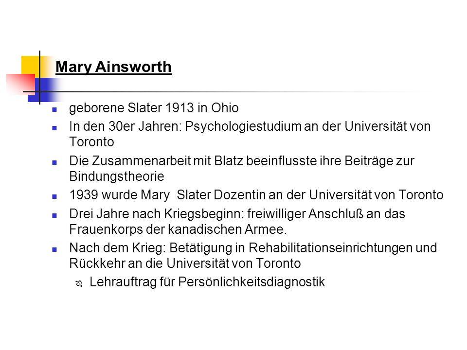 geborene Slater 1913 in Ohio In den 30er Jahren: Psychologiestudium an der Universität von Toronto Die Zusammenarbeit mit Blatz beeinflusste ihre Beit