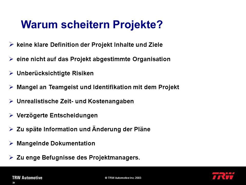 © TRW Automotive Inc. 2003 29 Warum scheitern Projekte? keine klare Definition der Projekt Inhalte und Ziele eine nicht auf das Projekt abgestimmte Or