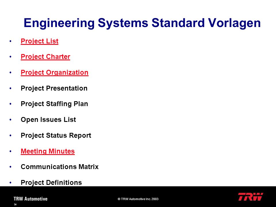 © TRW Automotive Inc. 2003 34 Project List Project Charter Project Organization Project Presentation Project Staffing Plan Open Issues List Project St