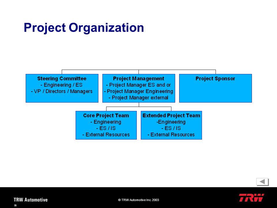 © TRW Automotive Inc. 2003 35 Project Organization